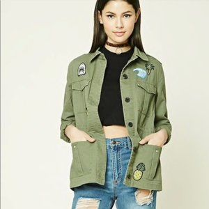 Forever 21 F21 Army Green Patched Utility Jacket M